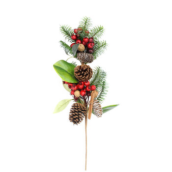 Fir Leaf with Cinnamon and Red Berry Artificial Stem