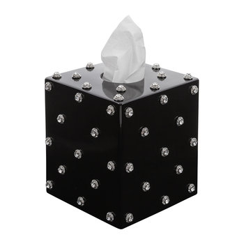 Nova Jewelled Glass Tissue Box - Black