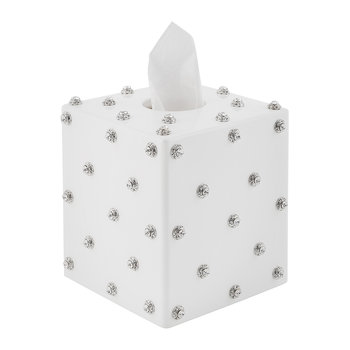 Nova Jewelled Glass Tissue Box - White