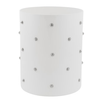 Nova Jewelled Glass Waste Bin - White