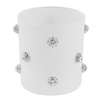 Nova Jewelled Glass Toothbrush Holder - White