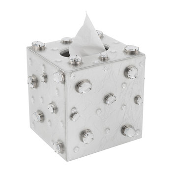 Contessa Jewelled Tissue Box - Silver Leaf