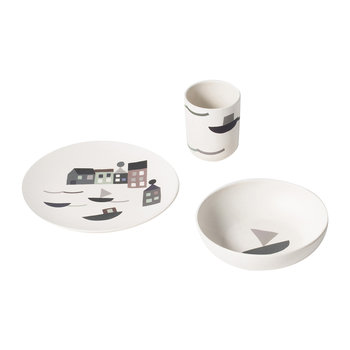 Children's Bamboo 3 Piece Dinner Set - Seaside