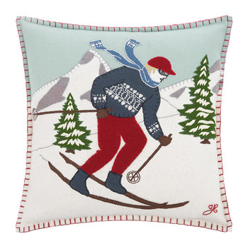 Blonde Skier Man Cushion
