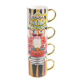 Nutcracker Mug Tower - Set of 4