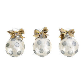 Silver Dot Ball Tree Decorations - Set of 3
