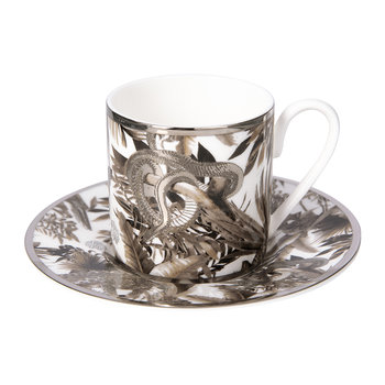 Tropical Jungle Espresso Cup & Saucer Luxury Gift Set - Set of 2 - White