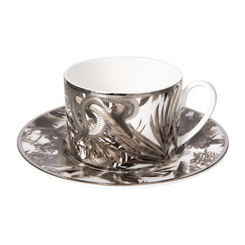 Tropical Jungle Teacup & Saucer Luxury Gift Set - Set of 2 - White