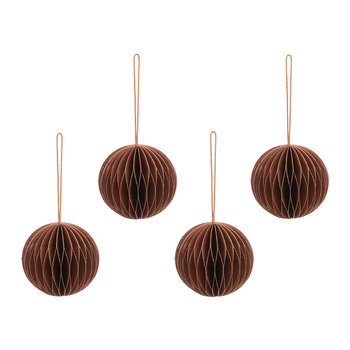 Paper Honeycomb Ball Tree Decoration - Set of 4 - Copper