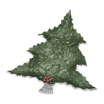 Holly Sprig Tree Platter - Emerald