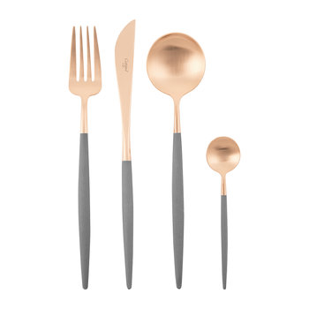 Goa Flatware Set - 24 Piece - Gray Rose Gold
