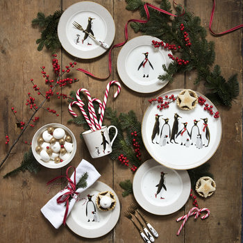 Christmas Penguin Cake Plates - Set of 4