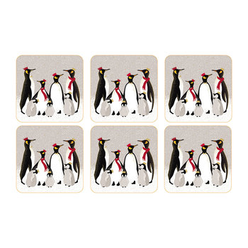 Christmas Penguin Coasters - Set of 6