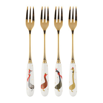 Christmas Geese Pastry Fork - Set of 4