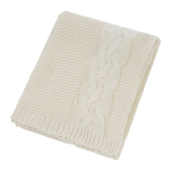Knitted Cable Throw - Natural