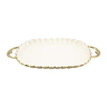 Peony Rectangular Tray - Gold Snow