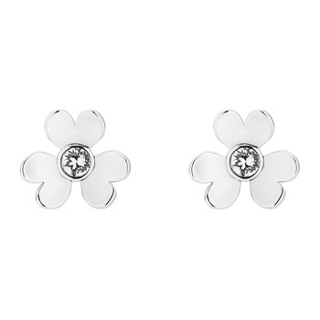 Hansila Heart Blossom Stud Earrings - White Bronze