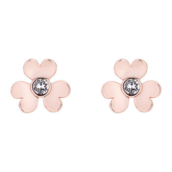Hansila Heart Blossom Stud Earrings - Rose Gold