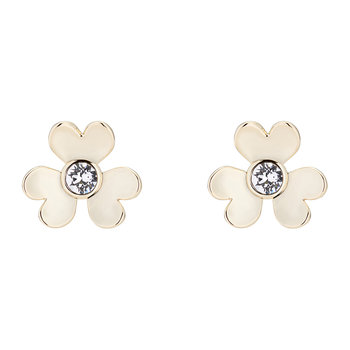Hansila Heart Blossom Stud Earrings - Pale Gold