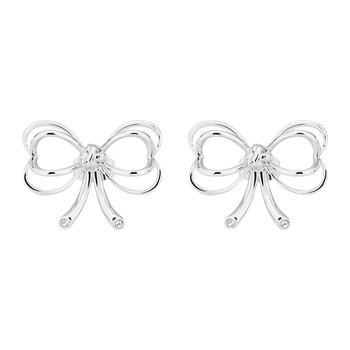 Lakia Small Heart Bow Stud Earrings - White Bronze