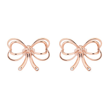 Lakia Small Heart Bow Stud Earrings - Rose Gold