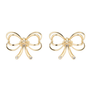 Lakia Small Heart Bow Stud Earrings - Pale Gold