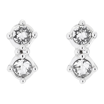 Eliora Princess Sparkle Stud Earrings - White Bronze