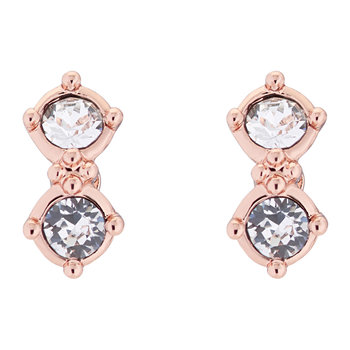 Eliora Princess Sparkle Stud Earrings - Rose Gold