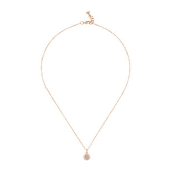 Elvina Enamel Mini Button Pendant Necklace - Rose Gold