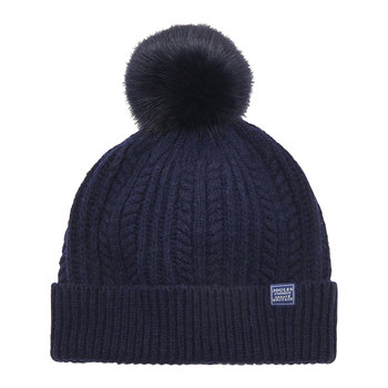 Cable Knit Bobble Hat - French Navy