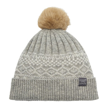 Elsa Fairisle Knitted Bobble Hat - Gray Marl