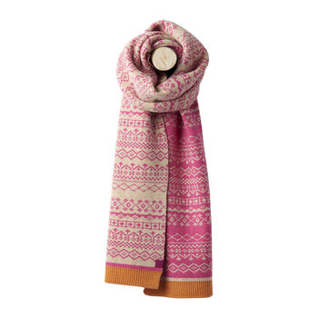 Elsa Fairisle Knitted Scarf - Deep Fuschia