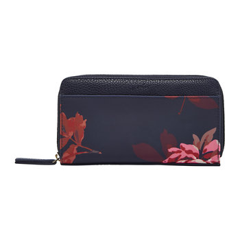 Fairford Coated Canvas Purse - French Navy Bircham Bloom
