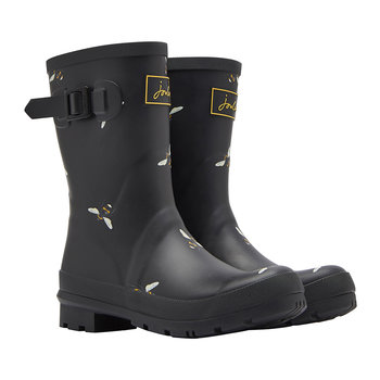 Women's Molly Mid-Height Wellies - Black Botanical Bees
