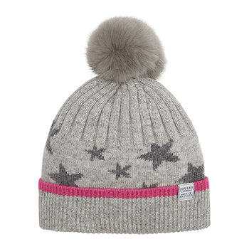 Saffy Intarsia Bobble Hat - Gray Star