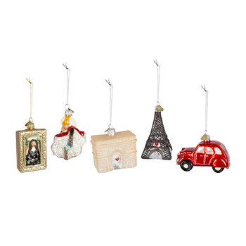 Little Paris Tree Decoration - Set of 5