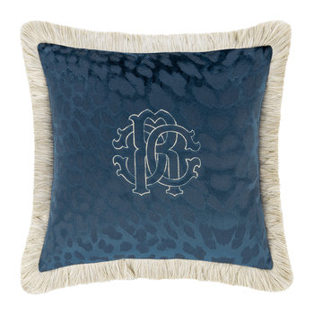 Monogram Reversible Pillow - Blue