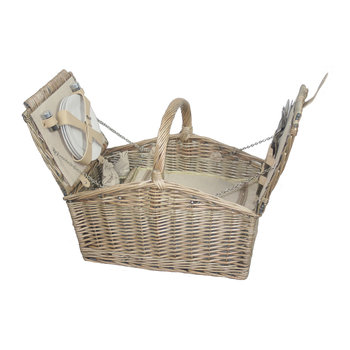 Double Lidded 4 Person Picnic Hamper - Cream