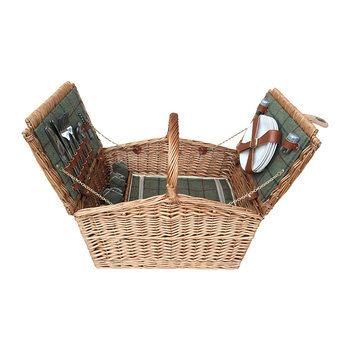 Double Lidded 4 Person Picnic Hamper - Green