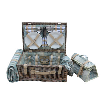 4 Person Tartan Hamper - Cream