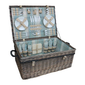 6 Person Deluxe Rope Handled Tartan Hamper - Duck Egg