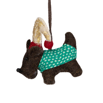 Felt Terrier with Hat and Scarf Tree Decoration