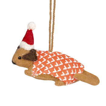Felt Dog with Hat and Coat Tree Decoration