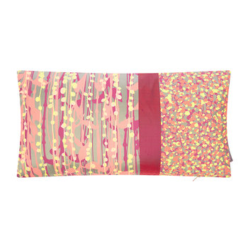 St Lucia Patchwork Cushion - 30x50cm - Pebble/Pink/Coral/Lemon