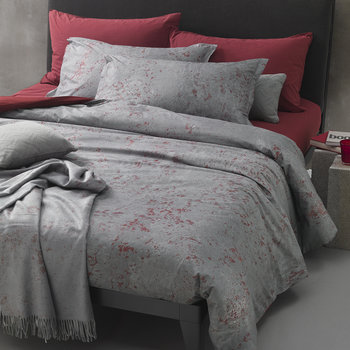 Urban Texture Duvet Set - Grey/Red