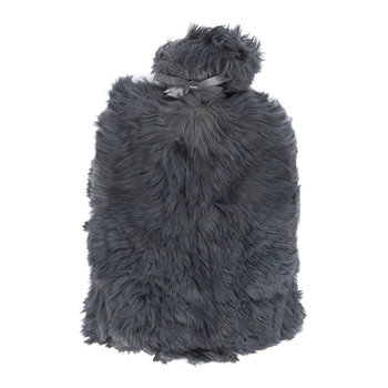 Alpaca Fur Hot Water Bottle - Steel