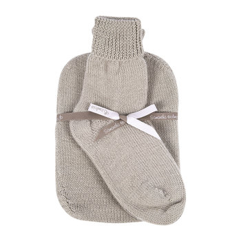 Knitted Hot Water Bottle & Bed Sock Gift Set - Oyster