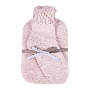 Knitted Hot Water Bottle & Bed Sock Gift Set - Pale Pink
