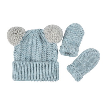 Infant Hat & Mitten Gift Set - Light Blue