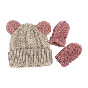 Infant Hat & Mitten Gift Set - Pink